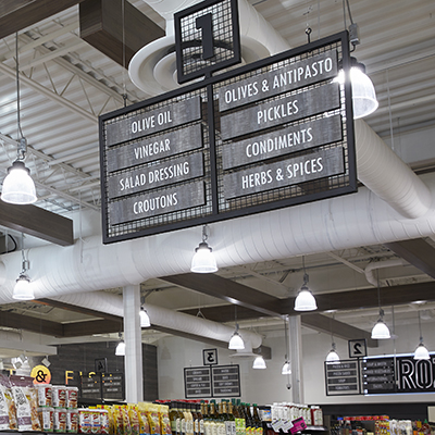 Aisle Sign in a grocery store.