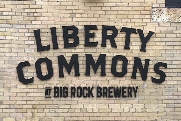Liberty Commons at Big Rock Brewery exterior channel letters.