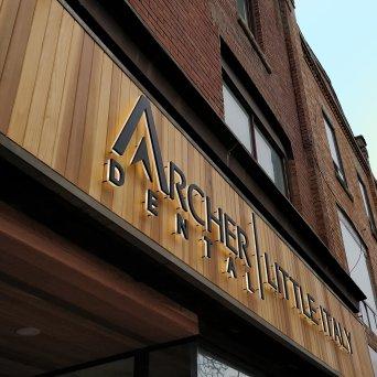 Archer Dental's business sign.