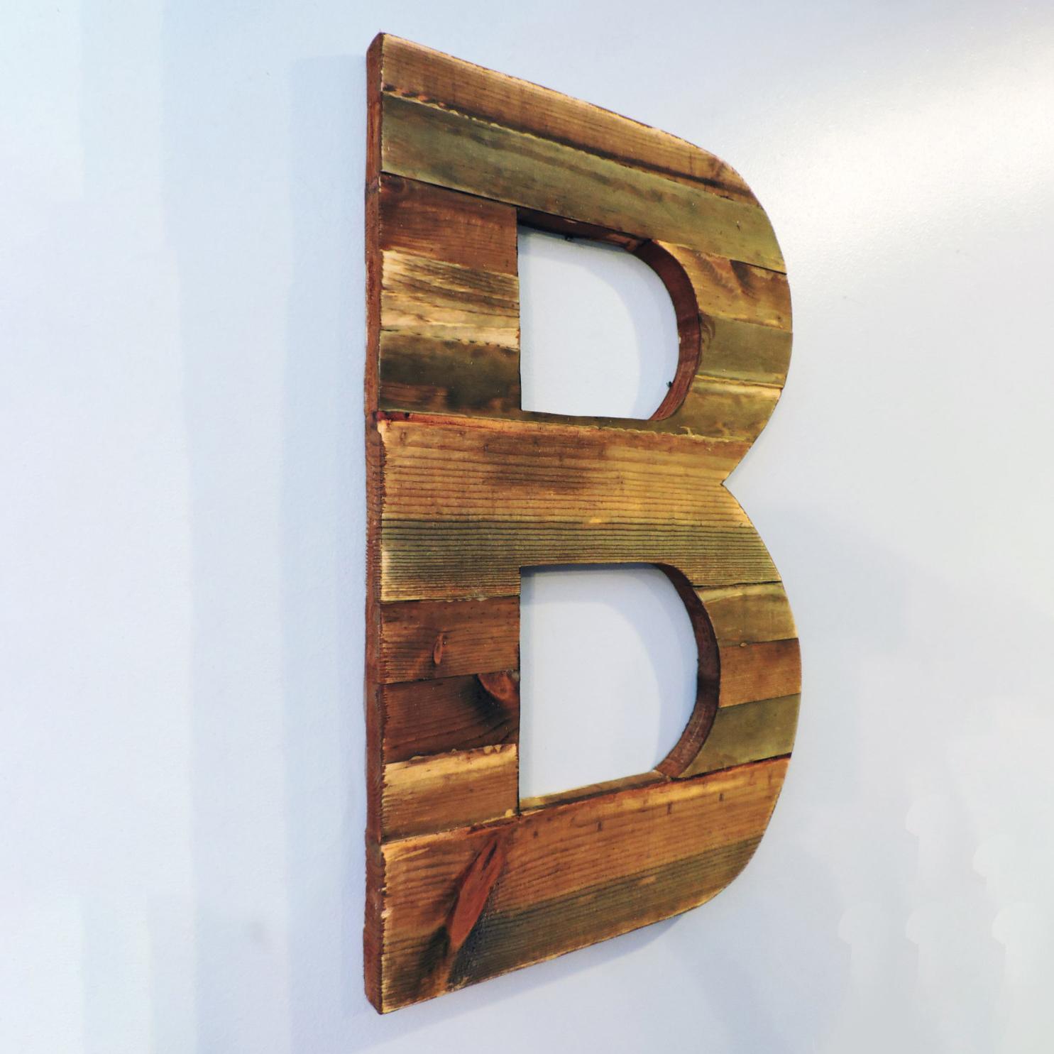 """Rustic Wood letter """"B""""."""