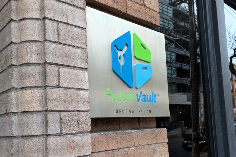 The custom sign we made for Future Vault.