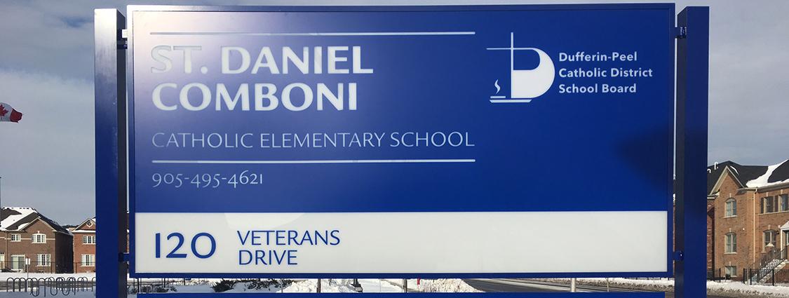Sign created for Catholic Elementary School.