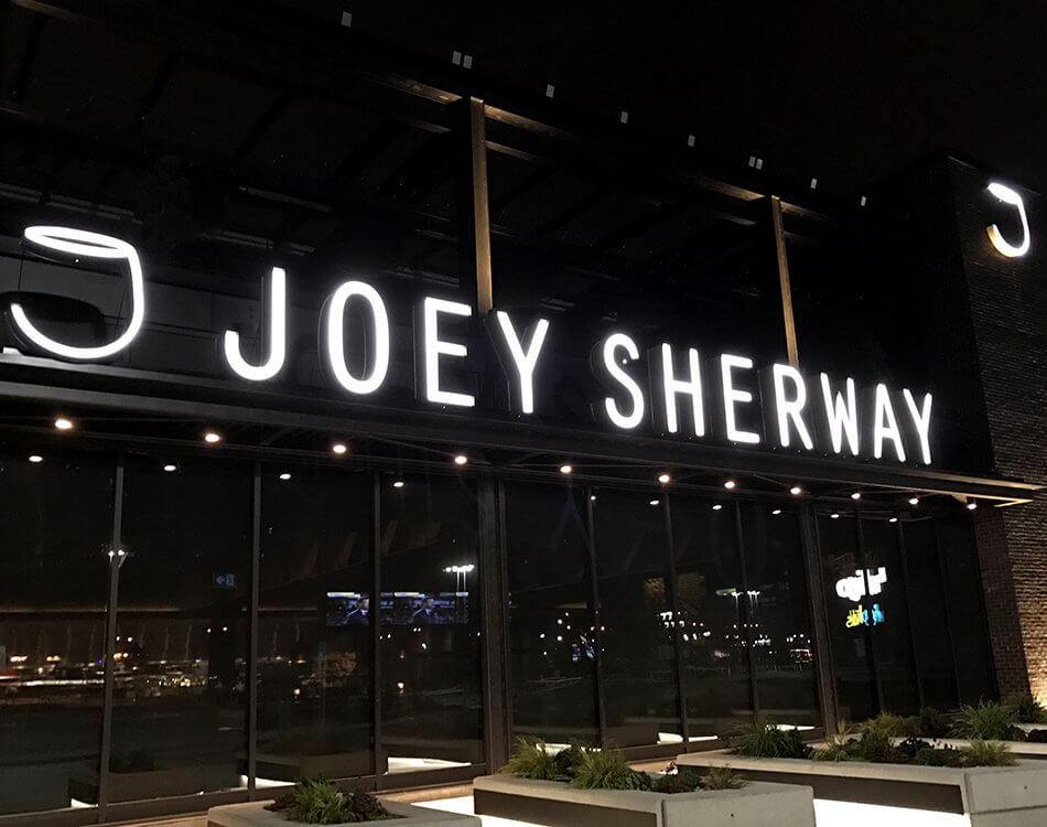 Restaurant signs for Joey Sherway.