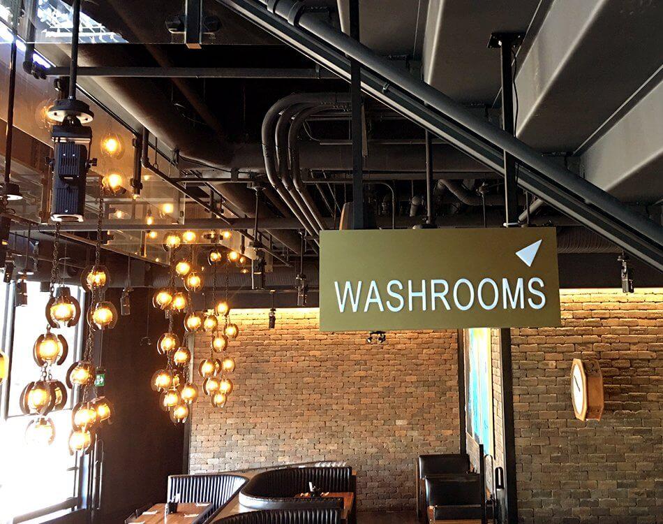 Washroom sign at wayfinding.