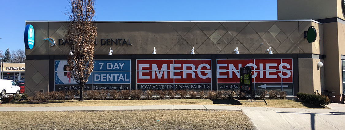 A dental office's business sign.