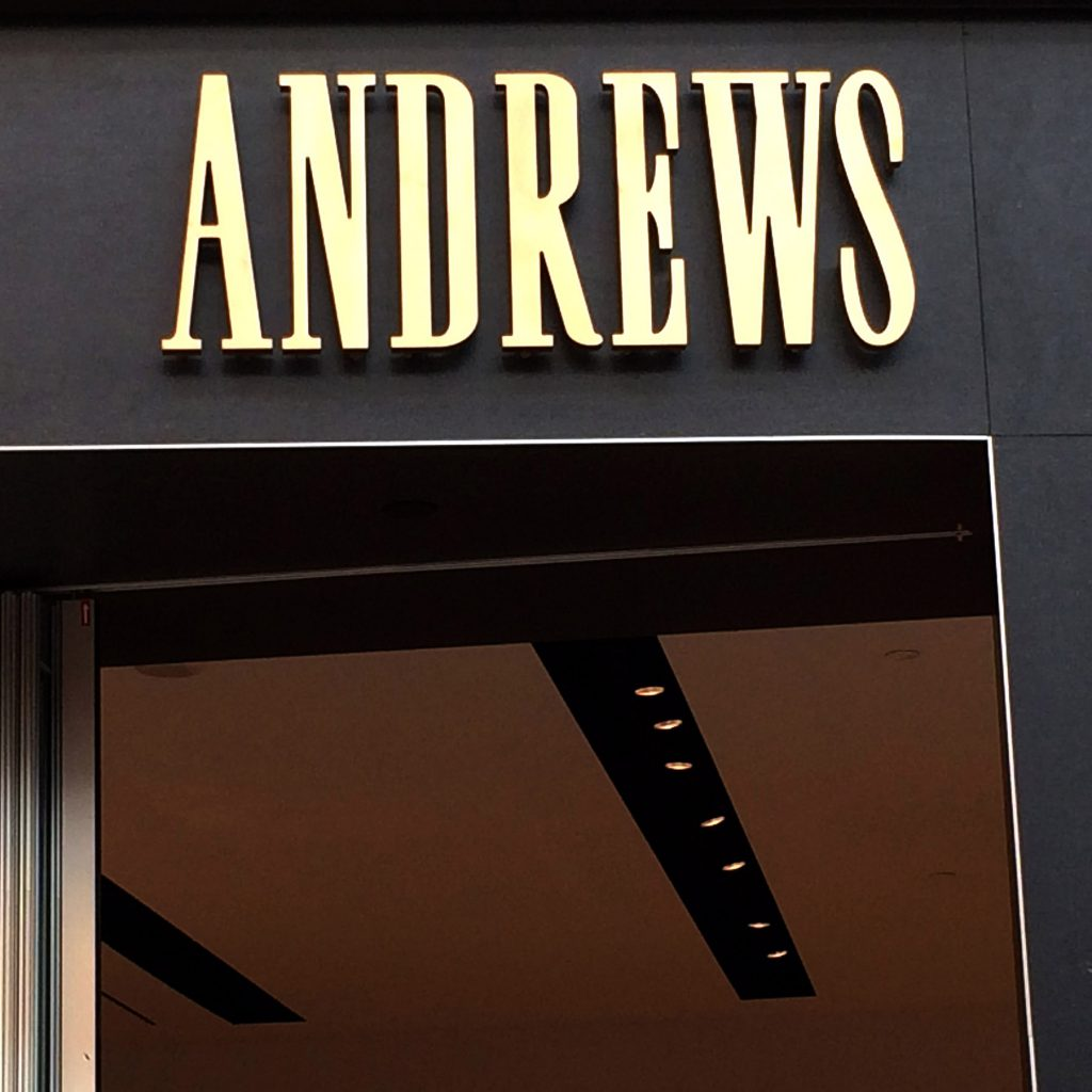 The storefront sign for Andrews in Toronto.