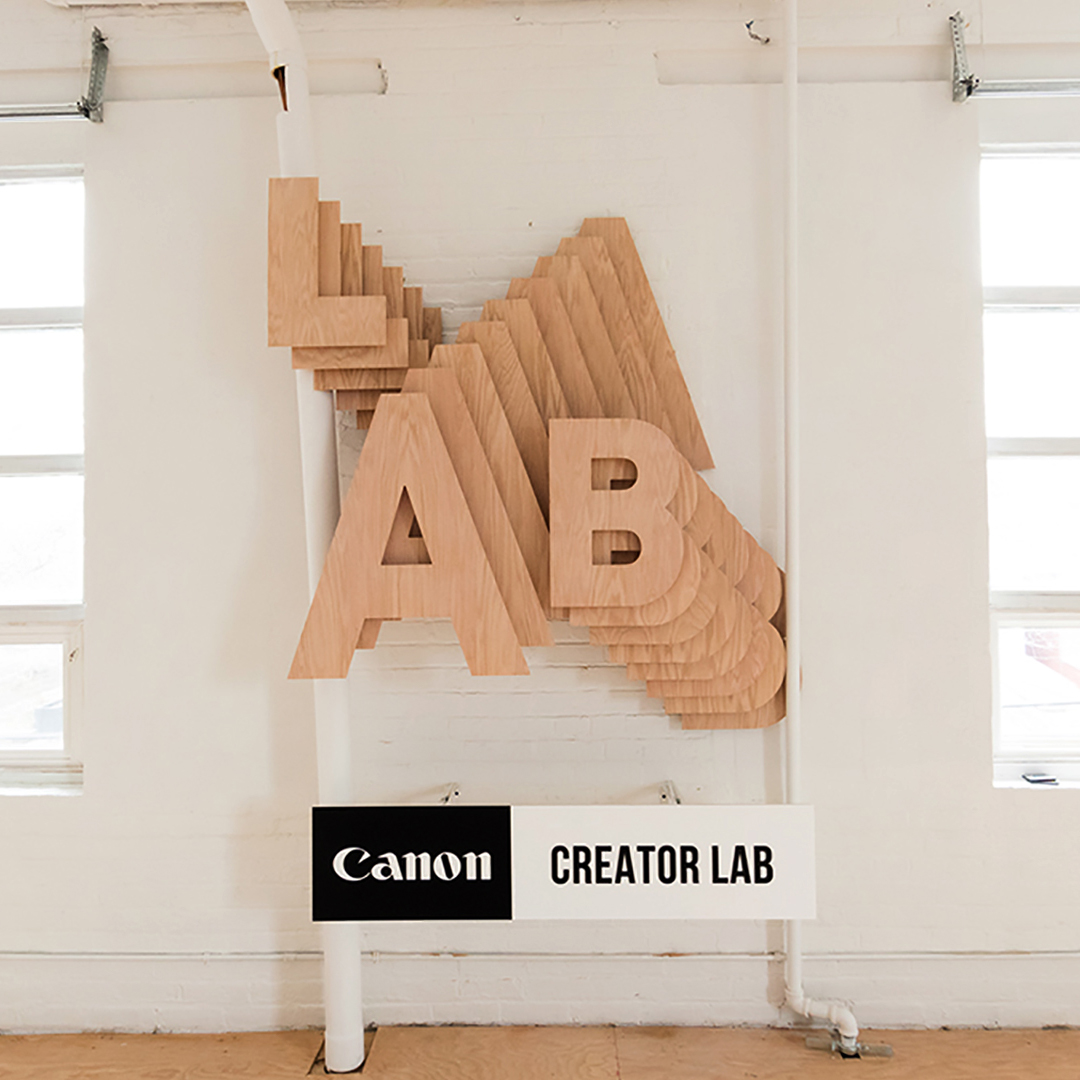 Wood channel letters made for Canon.