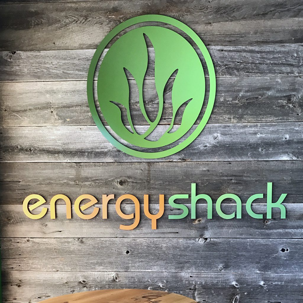 The channel letters for energy shack.
