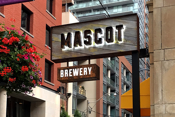 Sign for Mascot Brewery.