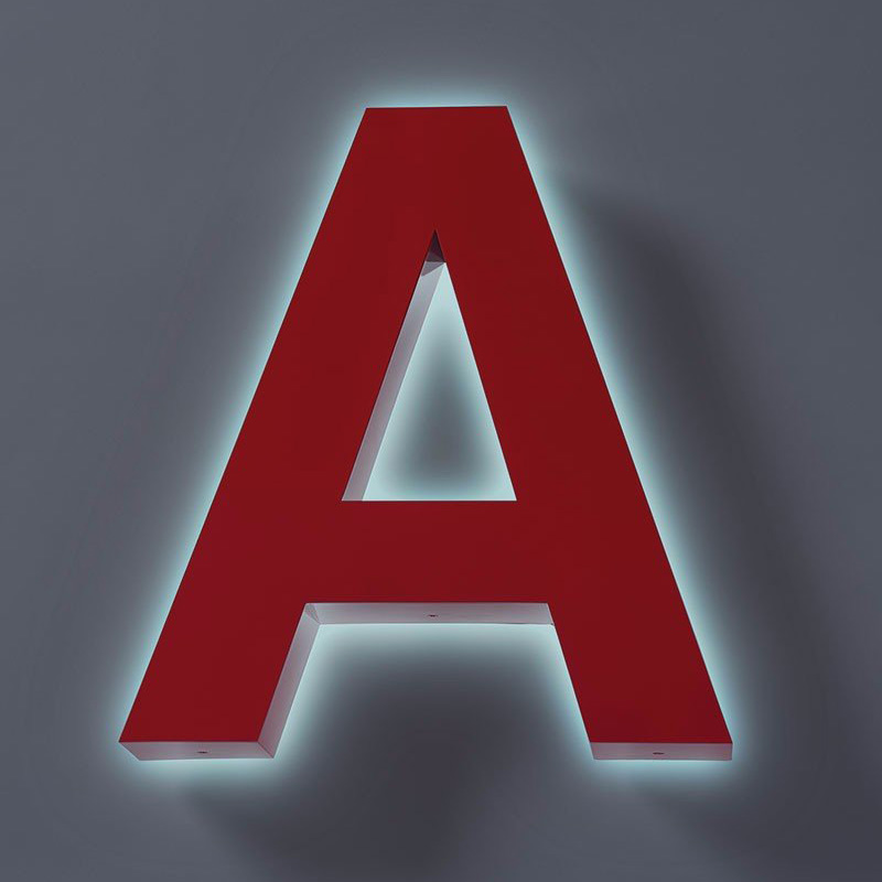 """A halo lit letter """"A""""."""