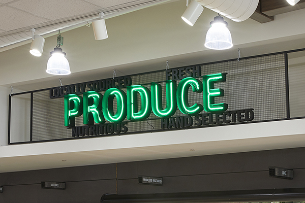"Signage with the words ""produce""."