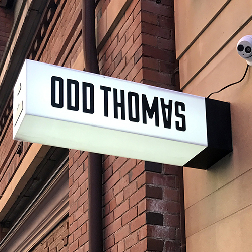 The custom signage created for OddThomas by Sign Nation.