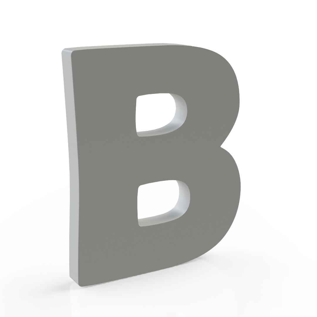 """A big, grey """"B""""."""