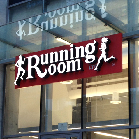 The exterior custom made sign for the Running Room in Toronto.
