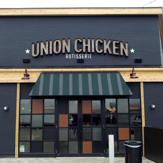 The exterior restaurant sign for union chicken.