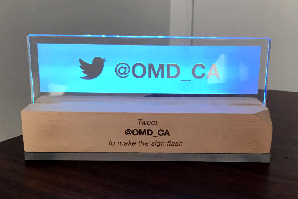 Light-up sign for OMD.