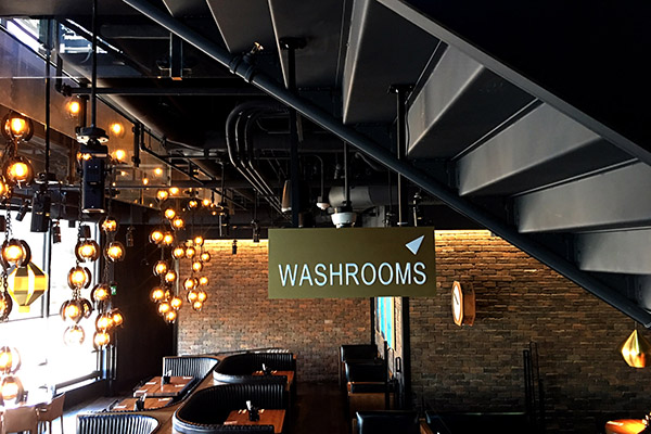 Washroom sign we made for a restaurant business.